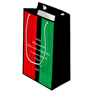 Kwanzaa Principles Red Black Green Stripes Pattern Small Gift Bag