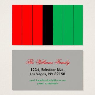Kwanzaa Red Black Green Kinara Striped Pattern Business Card