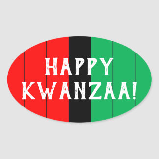 Kwanzaa Red Black Green Kinara Striped Pattern Oval Sticker