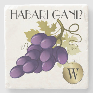 Kwanzaa Wine Grapes Monogram Coaster