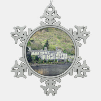 Kylemore Abbey Castle in Ireland Christmas Snowflake Pewter Christmas Ornament