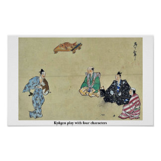 Kyōgen play with four characters poster