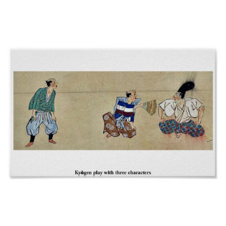 Kyōgen play with three characters posters
