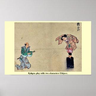 Kyōgen play with two characters Ukiyo-e. Poster