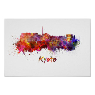 Kyoto skyline in watercolor poster