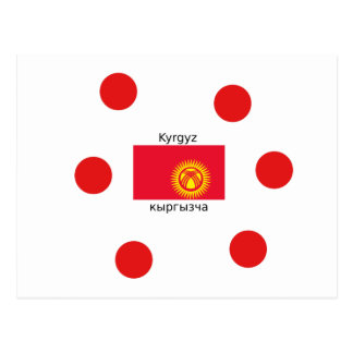 Kyrgyz Language And Kyrgyzstan Flag Design Postcard