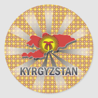 Kyrgyzstan Flag Map 2.0 Classic Round Sticker