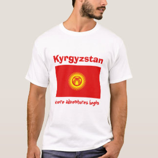 Kyrgyzstan Flag + Map + Text T-Shirt