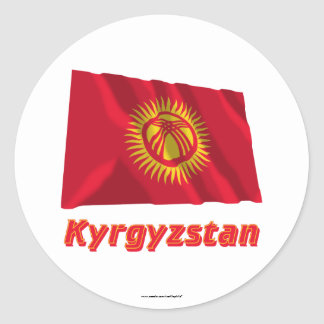 Kyrgyzstan Waving Flag with Name Classic Round Sticker