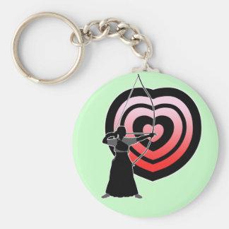 Kyudo heart-target 1 basic round button key ring