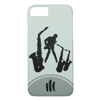 L2 Jazz Sax Black Saxophonist Monogram iPhone Case