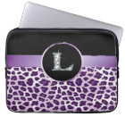 "L ""Diamond"" Purple Leopard & Ribbon Electronics Laptop Sleeve"