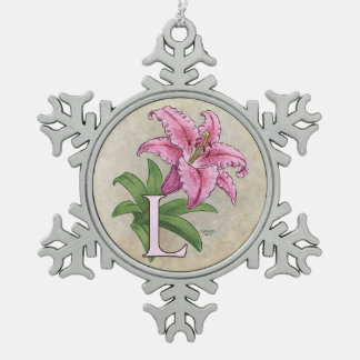 L for Lily Flower Alphabet Monogram Snowflake Pewter Christmas Ornament