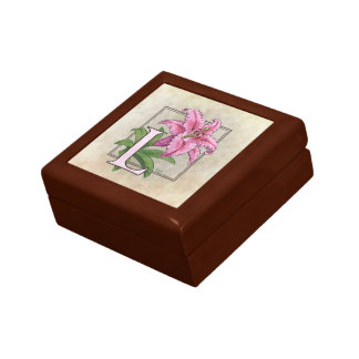 L for Lily Flower Monogram Small Square Gift Box