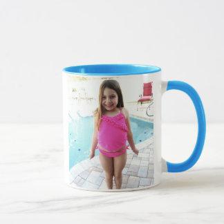 L getting ready for swim mug