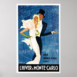 L Hiver Monte Carlo Monaco Vintage Posters