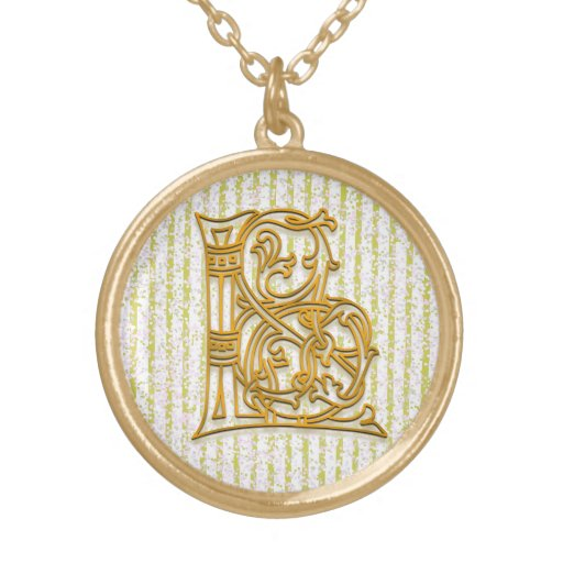 """L Initial Monogram """"Gold Pin Stripe"""" Necklace Jewelry"""