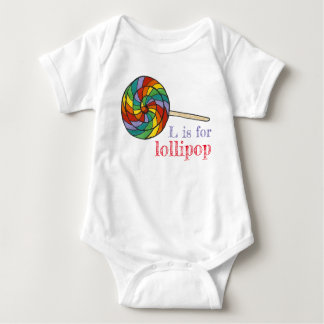 L is for Lollipop Rainbow Candy Lolly Sweet Letter Baby Bodysuit