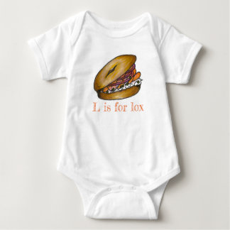 L is for Lox Smoked Salmon Bagel Cream Cheese Deli Baby Bodysuit