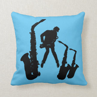 L Jazzman Black Saxophonist 2 Sax Jazz Blue Pillow