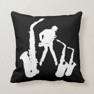 L Jazzman White Silhouette Sax Jazz Black Pillow