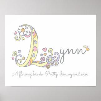 L monogram art Lynn girls name meaning poster
