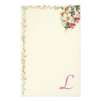 L Monogram Floral Bouquet Customized Stationery