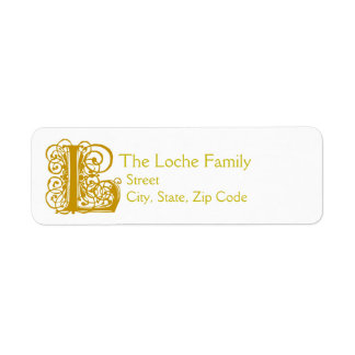 """L Monogram """"Gold Lace"""" design Address Lables Return Address Label"""