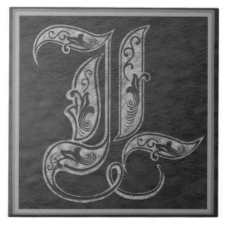 "L Monogram ""Royal Grey Stone"" Ceramic Tile"