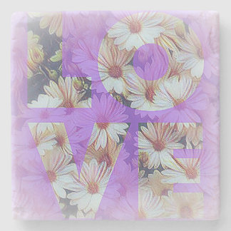 L O V E and Wild Daisies on Marble Coaster