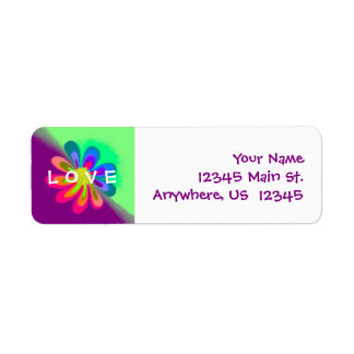 L O V E Flower Return Address Label