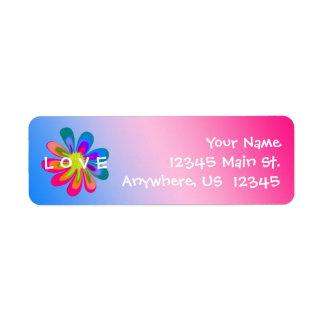 L O V E Flower Return Address Label