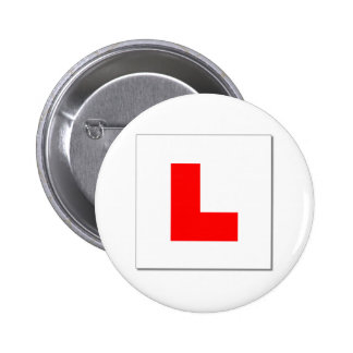 L Plates (red/white) 6 Cm Round Badge