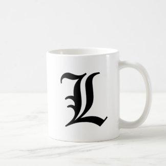 L-text Old English Coffee Mugs