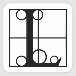 L- Typography Initial Square Sticker