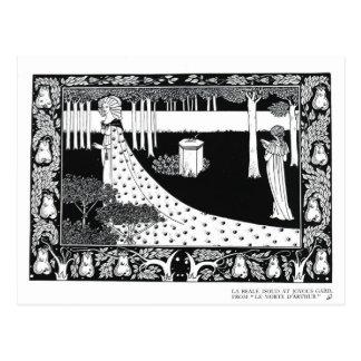 La Beale Isoud at Joyous Gard, illustration from ' Postcard