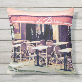 La Boheme Paris Cafe Outdoor Throw Pillow