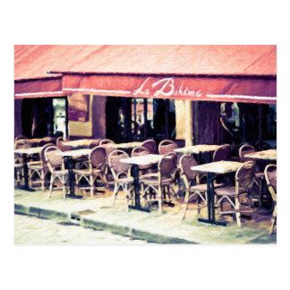 La Boheme Paris Cafe Postcard