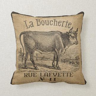La Boucherie French Cow Burlap Vintage Cushion