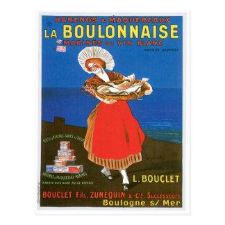 La Boulonnaise Canned Fish Vintage Food Ad Art Postcard