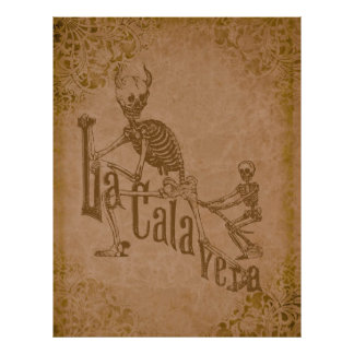 La Calavera by Jose Posada (grunge tan) Poster