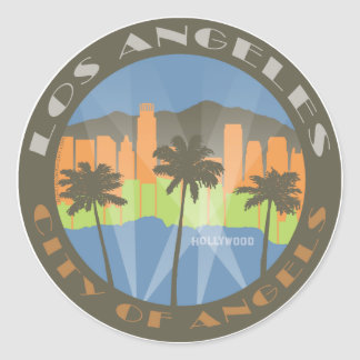 LA City of Angels Beachy Round Sticker
