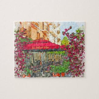 La Dolce Vita Cafe In Italy Watercolor Puzzle