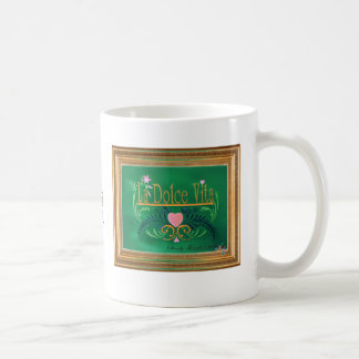 La Dolce Vita Green with Pink Heart in Gold Frame Coffee Mug