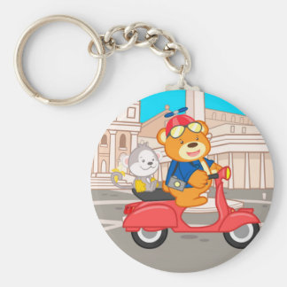 La Dolce Vita Romana - Nano Bear & Junior Monkey Basic Round Button Key Ring