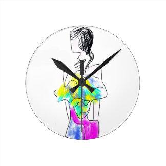 La Fleur Fashion Illustration Round Clock