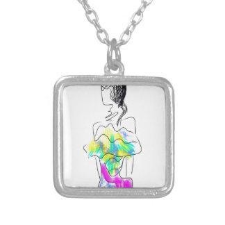 La Fleur Fashion Illustration Silver Plated Necklace