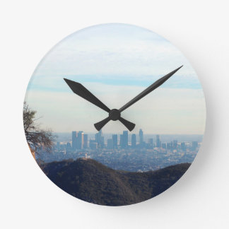 LA framed mountain Round Clock