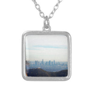 LA framed mountain Silver Plated Necklace