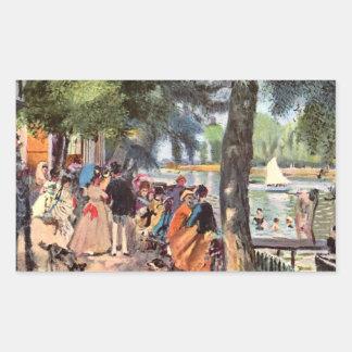 La Grenouillere by Pierre Renoir Rectangular Sticker